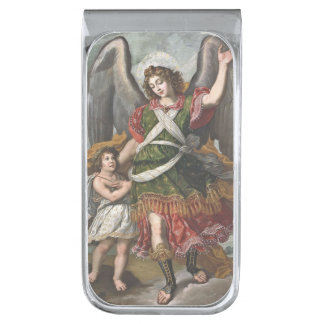 Spanish Guardian Angel and Child Silver Finish Money Clip
