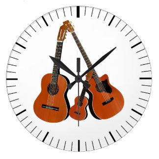 Spanish Guitar Acoustic Bass and Ukulele Large Clock
