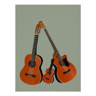 Spanish Guitar Acoustic Bass and Ukulele Poster