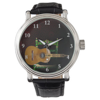 Spanish guitar with Giralda of Seville and chair Wristwatch