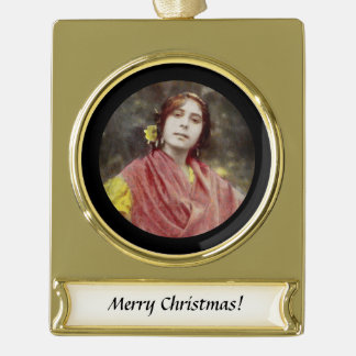 Spanish Gypsy Woman Gold Plated Banner Ornament
