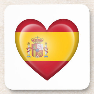 Spanish Heart Flag on White Drink Coasters