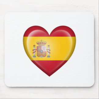 Spanish Heart Flag on White Mouse Pad