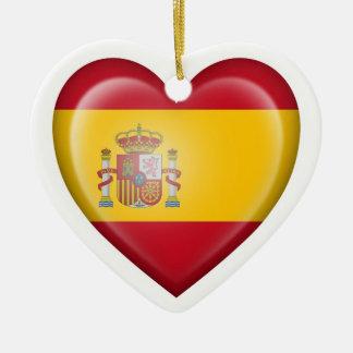 Spanish Heart Flag on White Christmas Tree Ornaments