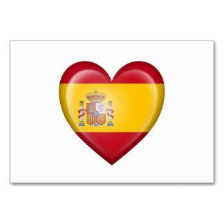 Spanish Heart Flag on White Table Cards