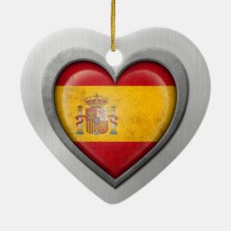 Spanish Heart Flag Stainless Steel Effect Christmas Ornaments