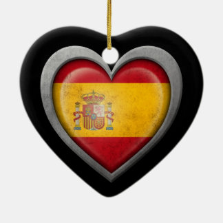 Spanish Heart Flag with Metal Effect Christmas Tree Ornament