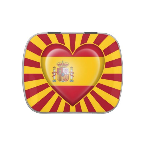 Spanish Heart Flag with Star Burst Jelly Belly Tins