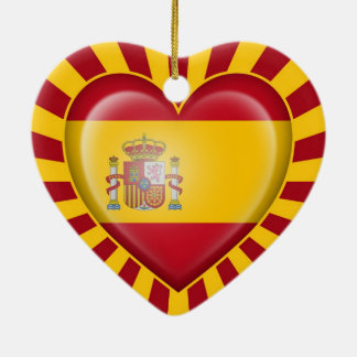 Spanish Heart Flag with Star Burst Christmas Ornament