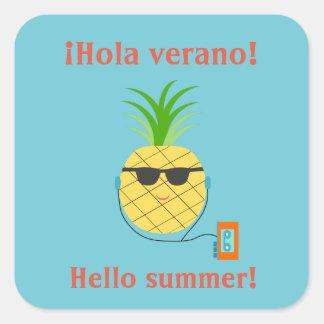 "Spanish ""Hello summer"" Sticker with Pineapple"
