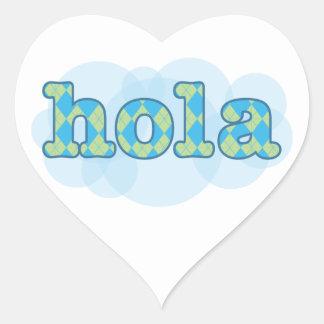 Spanish - Hola with argyle pattern Heart Sticker
