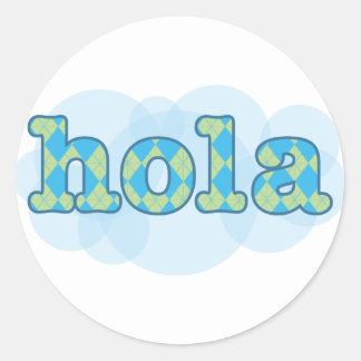 Spanish - Hola with argyle pattern Stickers