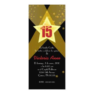 "spanish HOLLYWOOD quinceañera custom invitation 4"" X 9.25"" Invitation Card"