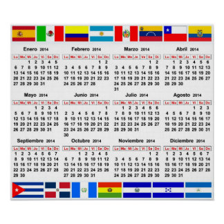 Spanish horizontal calendar 2014 with flags poster