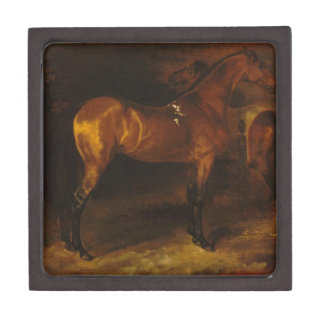 Spanish horse in a stable by Theodore Gericault Jewelry Box