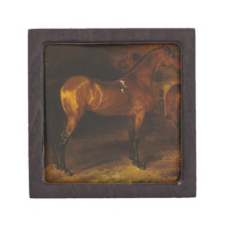 Spanish horse in a stable by Theodore Gericault Keepsake Box