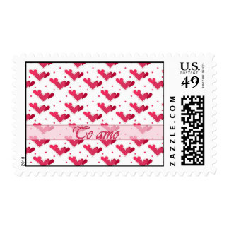 Spanish I Love You Red Hearts Dots White Stamp