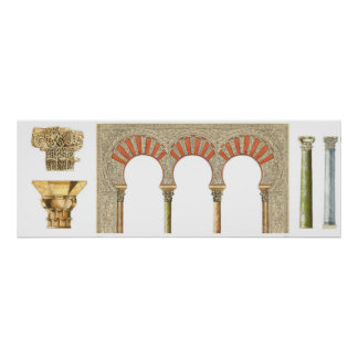 Spanish islamic caliphate art. Arches capitals Poster