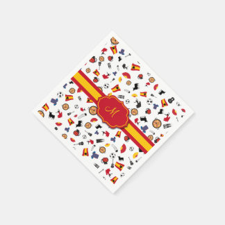 Spanish items with flag to add your monogram paper napkin