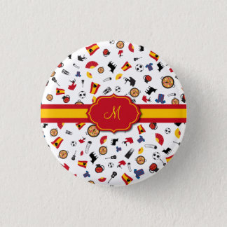 Spanish items with flag to add your monogram pinback button