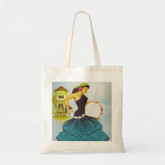 Spanish Lady with Tambourine Vintage Inspired Tote