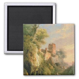Spanish landscape 2 inch square magnet