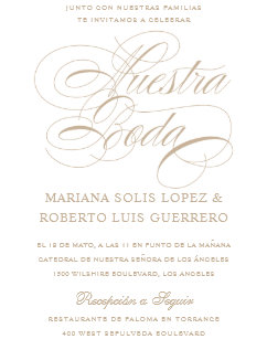 Spanish Language Nuestra Boda Tan Wedding Invitation
