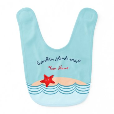 "Beach Themed Spanish Language Starfish ""Little Star"" Bib"
