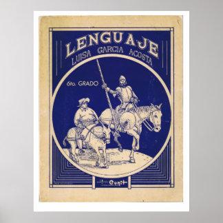 Spanish Language Textbook Don Quixote Sancho Panza Poster