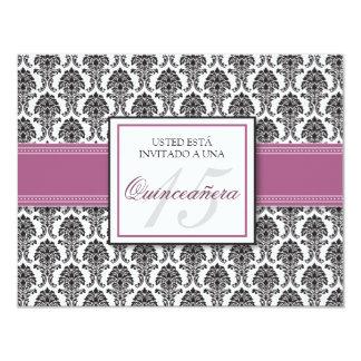 SPANISH Lavender Damask Quinceañera Invitación Card