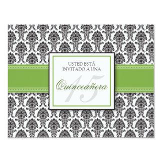 SPANISH Lime Green Damask Quinceañera Invitación Card
