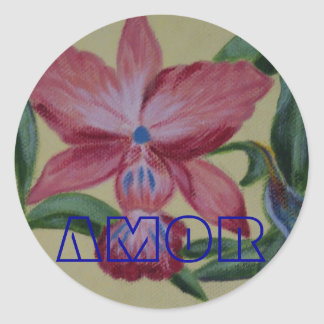 Spanish Love Pink Flower Painting Round Sticker