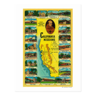 Spanish Missions of California showing Postcard