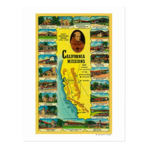 Spanish Missions of California showing Postcards