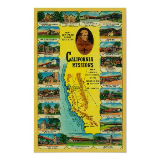 Spanish Missions of California showing Print