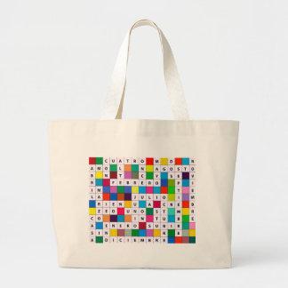 Spanish Months Design Large Tote Bag