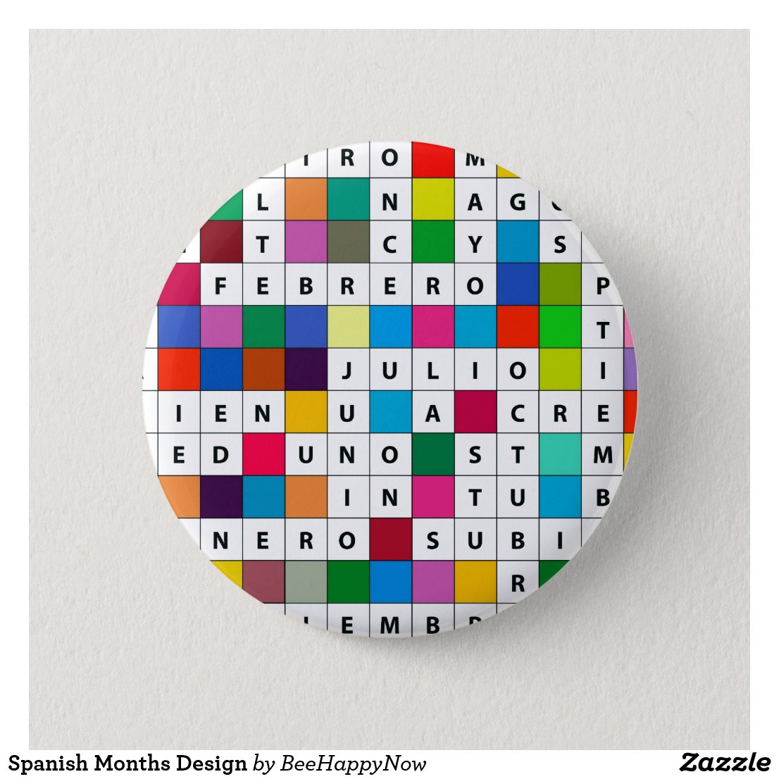 Spanish Months Design Pinback Button
