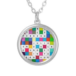 Spanish Months Design Round Pendant Necklace