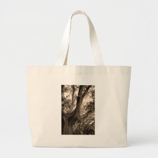 Spanish Moss Adorned Live Oak In Sepia Tones Large Tote Bag