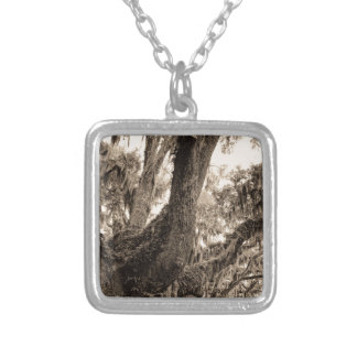 Spanish Moss Adorned Live Oak In Sepia Tones Silver Plated Necklace