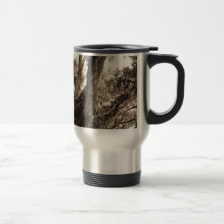Spanish Moss Adorned Live Oak In Sepia Tones Travel Mug