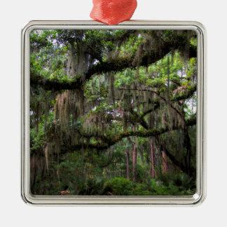 Spanish Moss Adorned Live Oak Metal Ornament