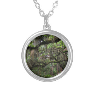 Spanish Moss Adorned Live Oak Silver Plated Necklace