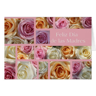 spanish mother's day pastel rose collage card