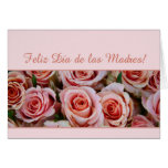 Spanish Mother's Day pink roses Greeting Card