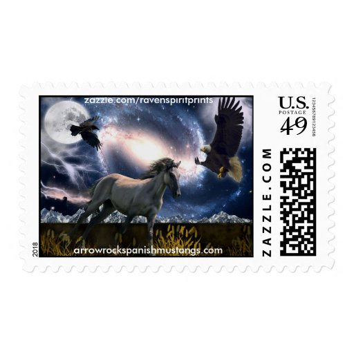 Spanish Mustang & Eagle Outer-Space Art Postage