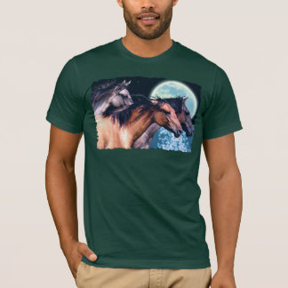 Spanish Mustangs & Moon Fantasy Horse T-Shirt