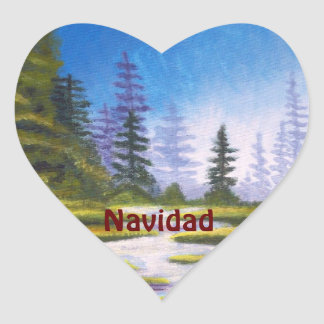 Spanish Navidad Heart Sticker Pine Forest Painting