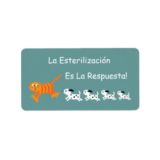 Spanish Neutering Is The Answer Cat & Puppies Address Label