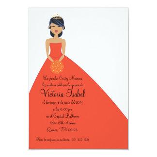 "spanish ORANGE PRINCESS quinceañera invitation 3.5"" X 5"" Invitation Card"